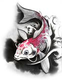 Koi fish. Watercolor sketch of a Koi fish Royalty Free Stock Image