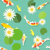 Koi fish and white lotus pattern, seamless background, vector Royalty Free Stock Photography