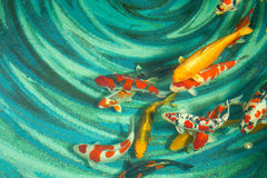Koi fishes. Beautiful koi fishes swimming in the pond royalty free stock photography