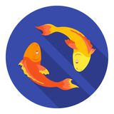 Koi fishes icon in flat style on white background. Religion symbol stock vector illustration. royalty free illustration