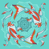 Koi fishes and lotus flower. Chinese koi fishes swimming around lotus flower, hand drawn vector illustration Royalty Free Stock Photography