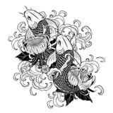 Koi fisk och krysantemumtatuering vid handteckningen stock illustrationer