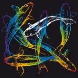 Koi karpar på svartjordning stock illustrationer