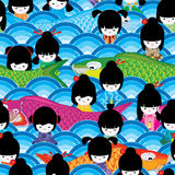 Koi kiss Japanese doll girl half circle seamless pattern. This illustration is design Koi fish kiss and play with Japanese girl with half circle symmetry blue Stock Image