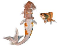 Koi Pattern Mermaid and Goldfish. Pretty ginger haired mermaid with koi scales pattern and goldfish, 3d digitally rendered illustration  on a white background Stock Photography
