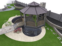 Koi pond and gazebo aerial, 3d rendering Stock Photo