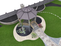 Koi pond and gazebo aerial, 3d rendering Royalty Free Stock Photography