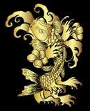 Koi ryba z kwiatem i japończyk chmury tatuaż projektuje wektor obraz royalty free