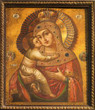 Košice - Mother of God icon from 18. cent. in Saint Elizabeth gothic cathedral Royalty Free Stock Image