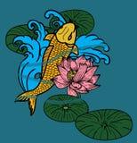 Koii-Fischvektor, schwimmend auf Fluss Stockfotografie