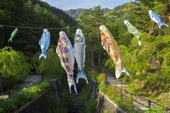 Koinobori near Mount Fuji royalty free stock photography