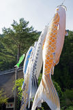 Koinobori near Mount Fuji Stock Photography