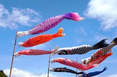 Koinobori. Carp-shaped wind socks traditionally flown in Japan to celebrate Tango no sekku, a traditional calendrical event which is now designated a national Royalty Free Stock Images