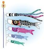 Koinobori fish. Vector illustration of Japanese koinobori fish Royalty Free Stock Photos