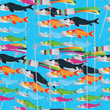 Koinobori fly many seamless pattern Royalty Free Stock Images