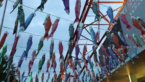 Koinobori at Tokyo Tower. Tokyo, Japan - April 23, 2017: Koinobori a carp-shaped wind socks traditionally flown in Japan to celebrate Children`s Day during stock footage