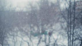 Kojący opad śniegu w mieście Strzelać z bokeh skutkiem w zwolnionym tempie zbiory