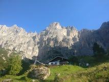 Koja i bergen i lantgård för Bayern Österrike Tyrol Tysklanddagbok Royaltyfri Fotografi