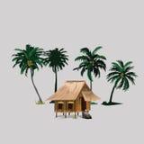 Koja med kokospalmer i asiatisk bygd Royaltyfri Bild