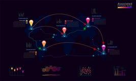 Kojarzonego firmy światowej mapy oceny fabrycznego punktu infographic projekt z zbiorczą wykres mapy dane wektoru ilustracją e ilustracji