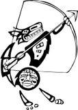 Kojote mit Bogen und Pfeil vektor abbildung