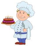 Kok met cake Royalty-vrije Stock Fotografie