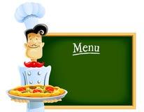 Kok met pizza en menu Royalty-vrije Stock Afbeeldingen