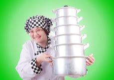 Kok met stapel potten op wit Stock Afbeeldingen