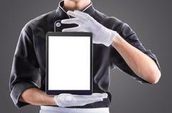 Kok met tablet het 3D teruggeven en foto Hoge Resolutie Royalty-vrije Stock Afbeeldingen