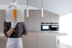Kok op een keuken met BOEK het 3d teruggeven Hoge Resolutie Stock Fotografie