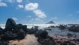 Kok plaża blisko Hana na Hawajskiej wyspie Maui Obrazy Royalty Free