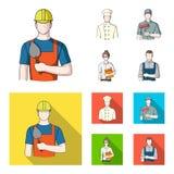 Kok, schilder, leraar, slotenmakerwerktuigkundige Pictogrammen van de beroeps de vastgestelde inzameling in beeldverhaal, de vlak Royalty-vrije Stock Foto's