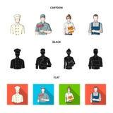 Kok, schilder, leraar, slotenmakerwerktuigkundige Pictogrammen van de beroeps de vastgestelde inzameling in beeldverhaal, zwart,  Stock Afbeeldingen