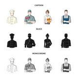 Kok, schilder, leraar, slotenmakerwerktuigkundige Pictogrammen van de beroeps de vastgestelde inzameling in beeldverhaal, zwarte, Royalty-vrije Stock Afbeeldingen