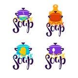 Kok Soup, vectorembleemmalplaatje met beeld van beeldverhaalkom, spoo Stock Afbeelding