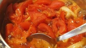 Koka för tomatsoppa lager videofilmer