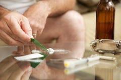 Kokain-Missbrauch Stockfotografie