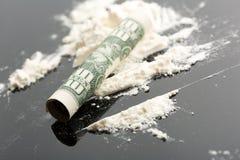 Kokain och 10 dollar anmärkning Royaltyfri Fotografi