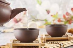 Kokande vatten från en keramisk kokkärl hälls in i en kopp för traditionell kines på en teceremoni royaltyfri fotografi