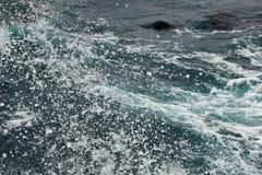 Kokande yttersida av vatten under påverkan av stark vind Färgstänk och droppar av vatten sprider i olika riktningar Royaltyfri Foto