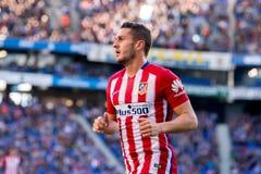 Koke joue à la correspondance de Liga de La entre le RCD Espanyol et l'Atletico De Madrid image stock