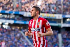 Koke plays at the La Liga match between RCD Espanyol and Atletico de Madrid. BARCELONA, SPAIN - APR 9: Koke plays at the La Liga match between RCD Espanyol and stock image
