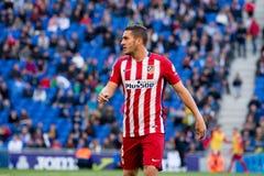 Koke Resurreccion plays at the La Liga match between RCD Espanyol and Atletico de Madrid Royalty Free Stock Images