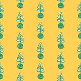Kokedama wzoru ręka rysujący bezszwowy kolor żółty i zieleń ilustracja wektor