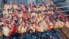 Kokend barbecuevarkensvlees op de steenkolen Geroosterd vlees Ongezonde kost