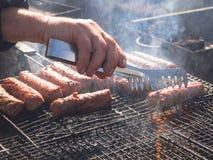 Kokend BBQ vlees Picknick in aard met het koken van vlees stock afbeeldingen
