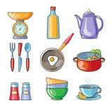 Kokend hulpmiddelen en keukengereimateriaal Stock Afbeeldingen