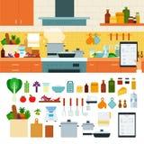 Kokend thuis het gebruiken van online recepten app royalty-vrije illustratie