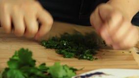 Kokend voedsel en scherpe peterselie stock footage