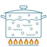 Kokend water in pan royalty-vrije illustratie